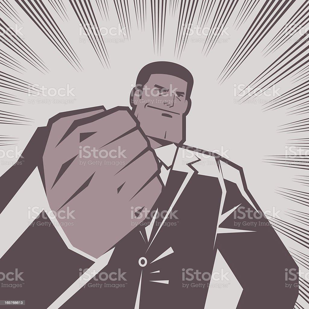 Black Man with Fist Raised royalty-free stock vector art
