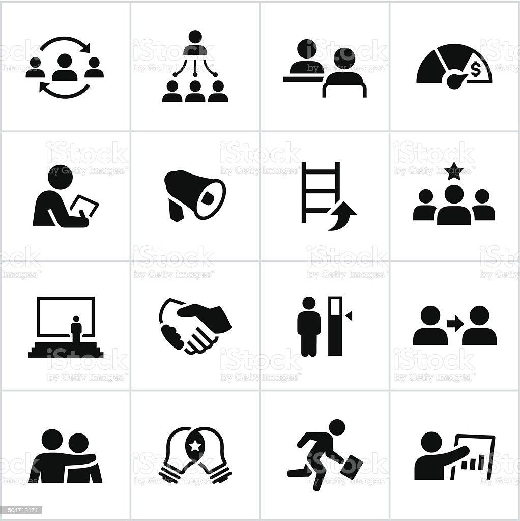 Black Management Icons vector art illustration