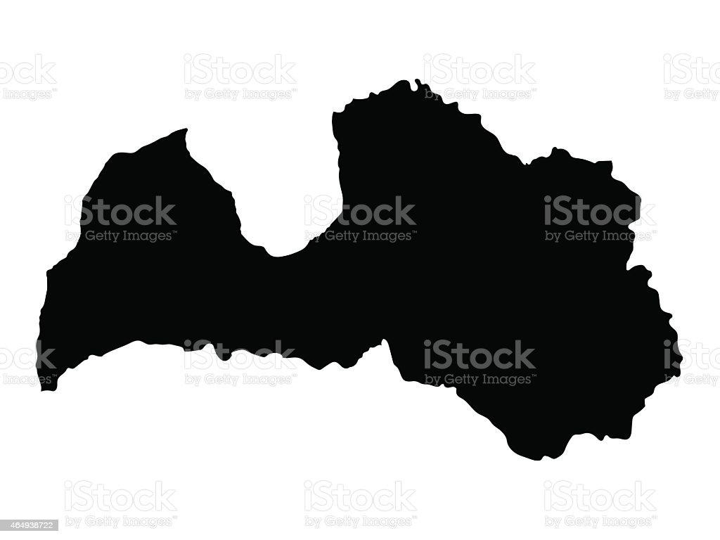 black map of Latvia vector art illustration
