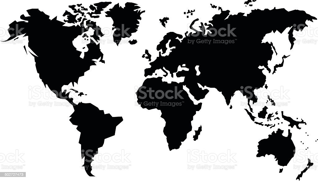 black map of the world vector art illustration