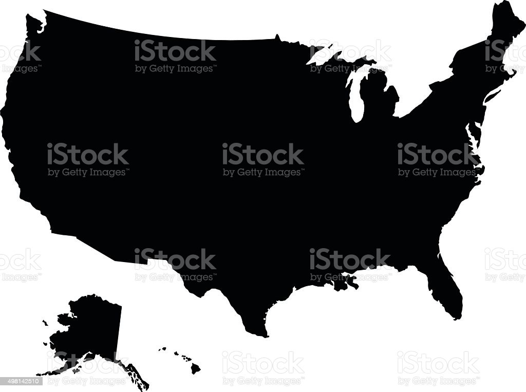 USA black map on white background vector royalty-free stock vector art