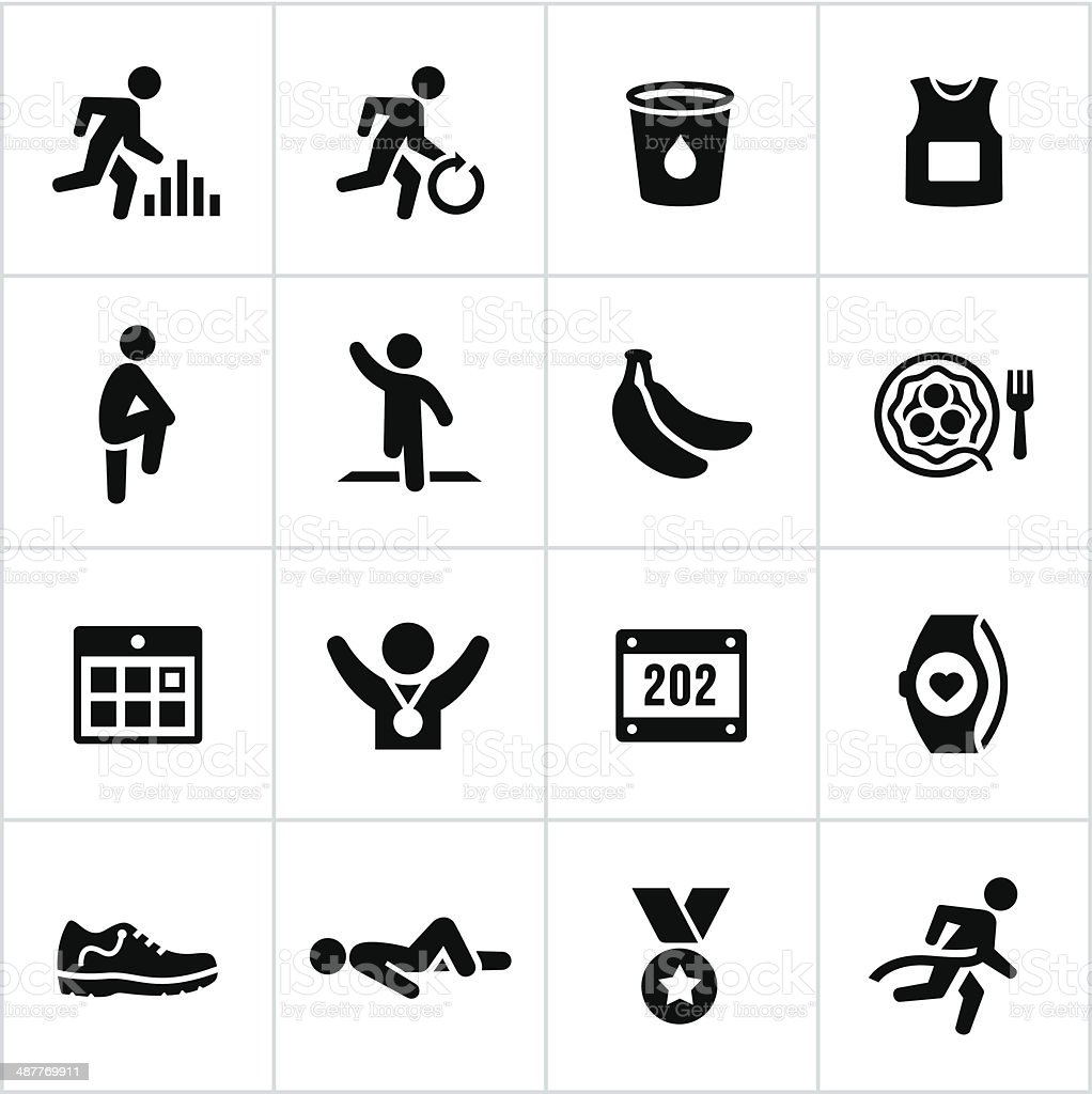 Black Marathon Icons vector art illustration