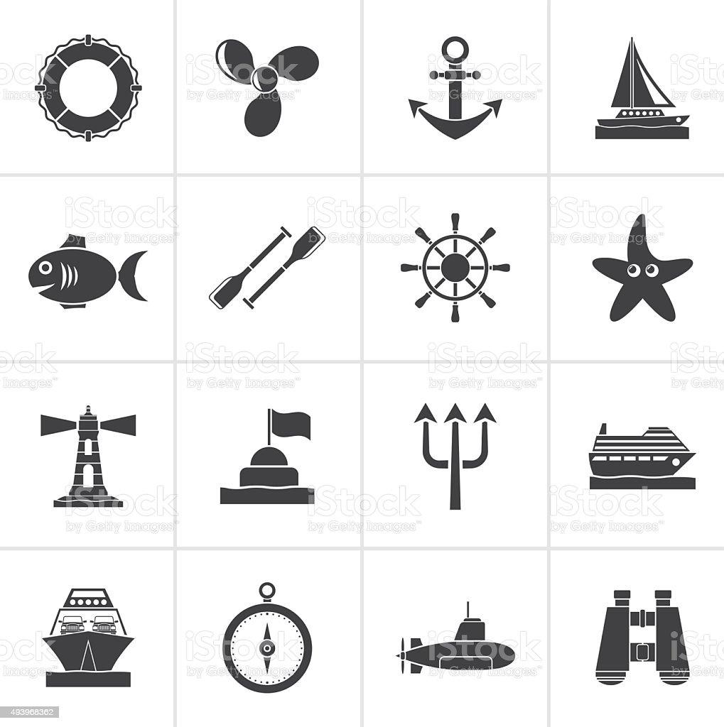 Black Marine and sea icons vector art illustration