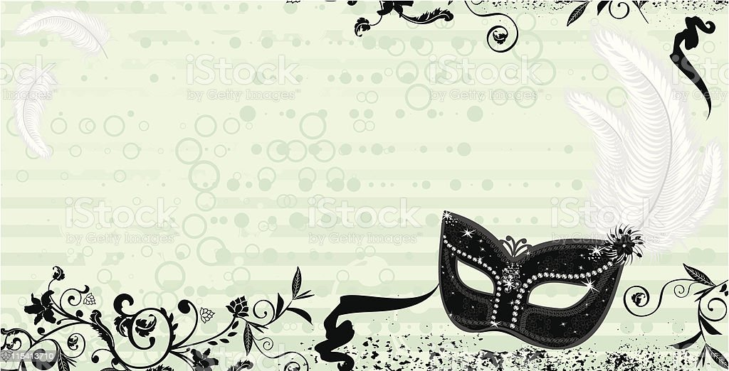 A black masquerade mask on a light green background royalty-free stock vector art