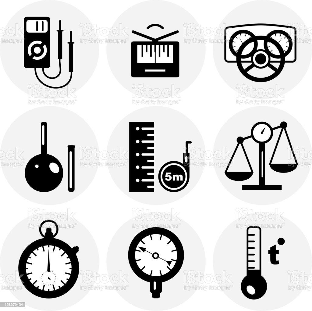 Black measurement icons vector art illustration