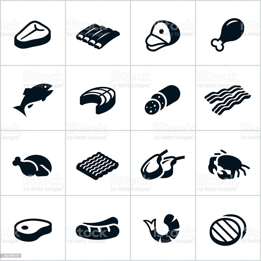 Black Meat Icons vector art illustration