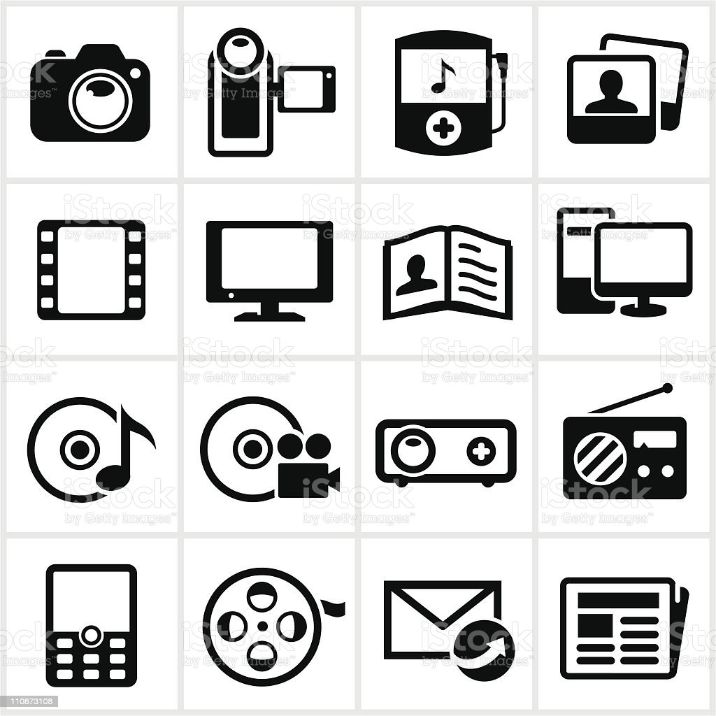 Black Media Icons vector art illustration