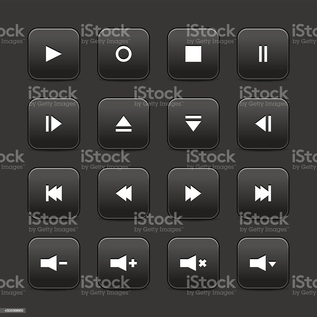 Black media player audio video icon square button gray background royalty-free stock vector art