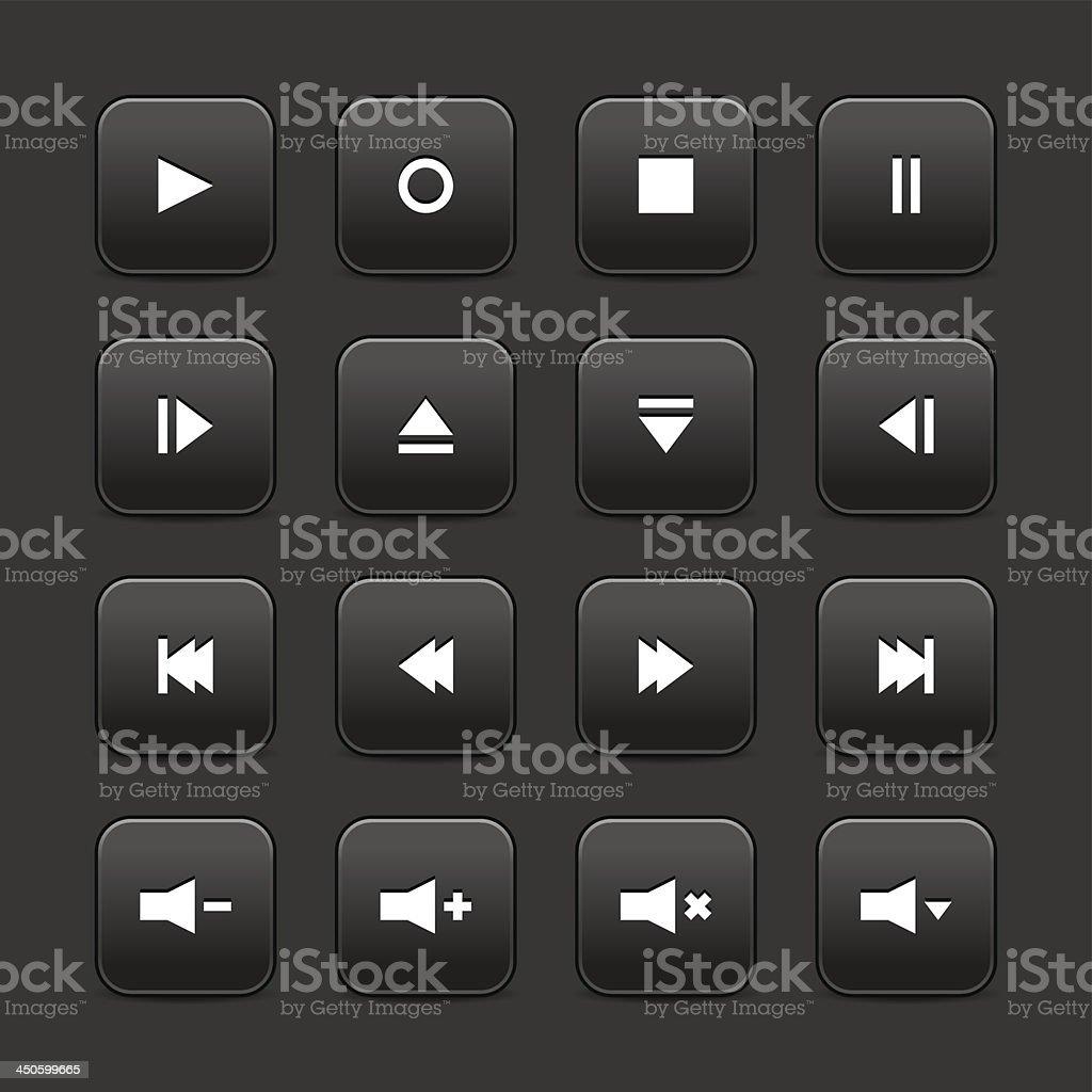 Black media player audio video icon square button gray background vector art illustration