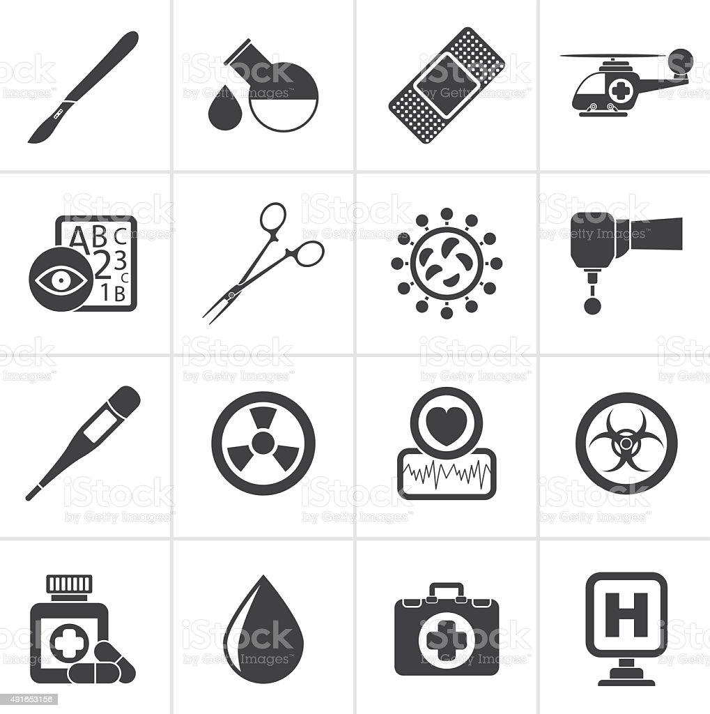 Black Medicine and hospital equipment icons vector art illustration