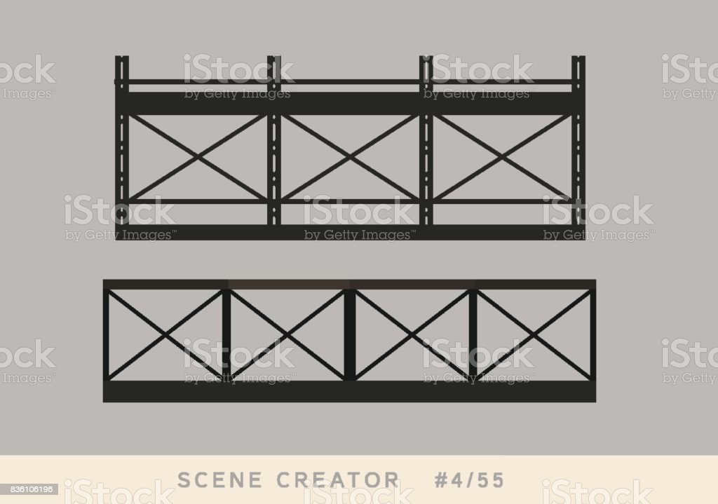 Black metallic loft styled fence. Isolated vector objects set. vector art illustration