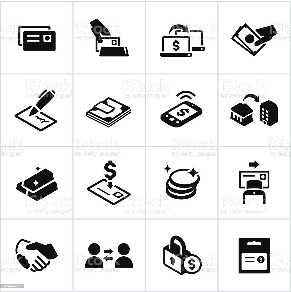 Black Methods of Payment Icons vector art illustration