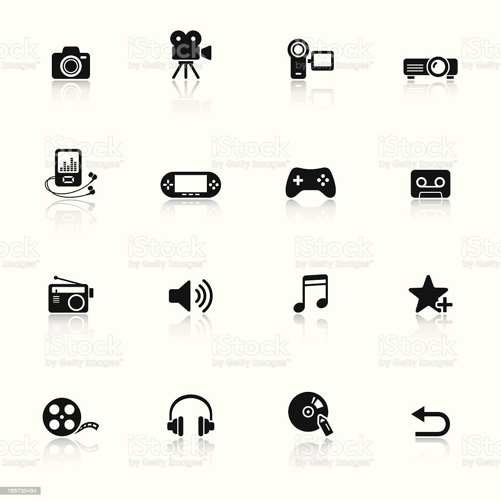 Black minimalist media icons with faint reflections royalty-free stock vector art