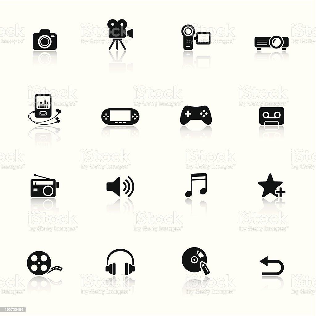 Black minimalist media icons with faint reflections vector art illustration