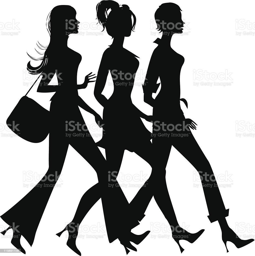 Black modern illustration of 3 girls shopping on white royalty-free stock vector art