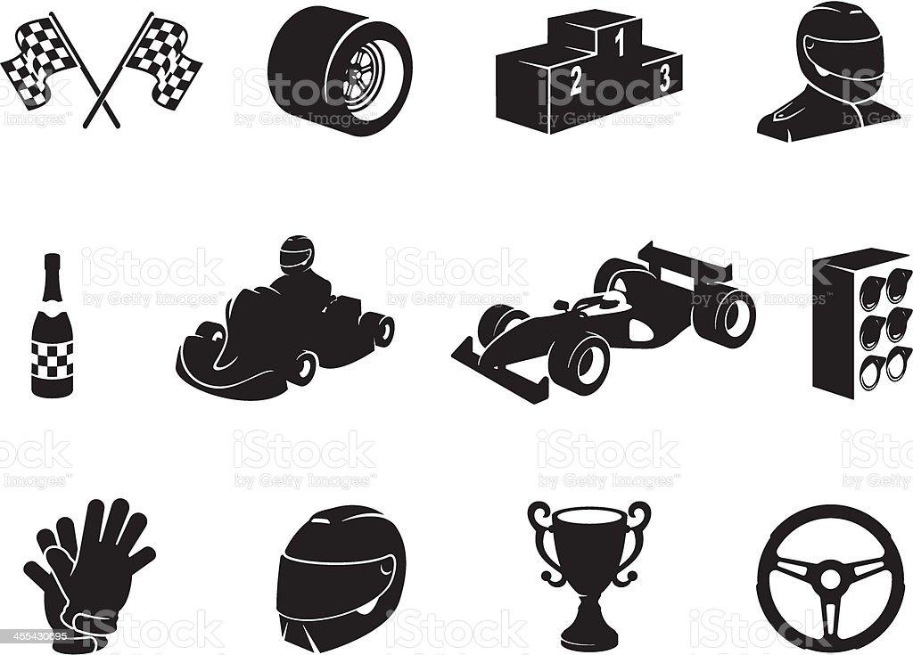 Black Motor Racing Icon Set vector art illustration