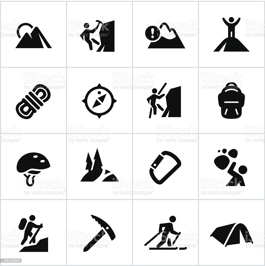 Black Mountaineering Icons vector art illustration