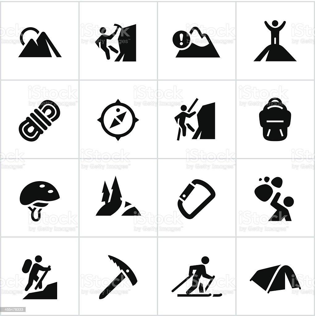 Black Mountaineering Icons vector art illustration