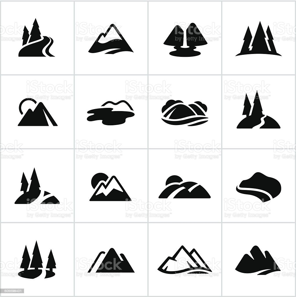 Black Mountains, Hills and Water Ways Icons vector art illustration