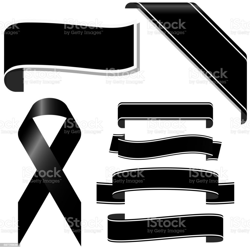 black mourning ribbon and banners vector art illustration