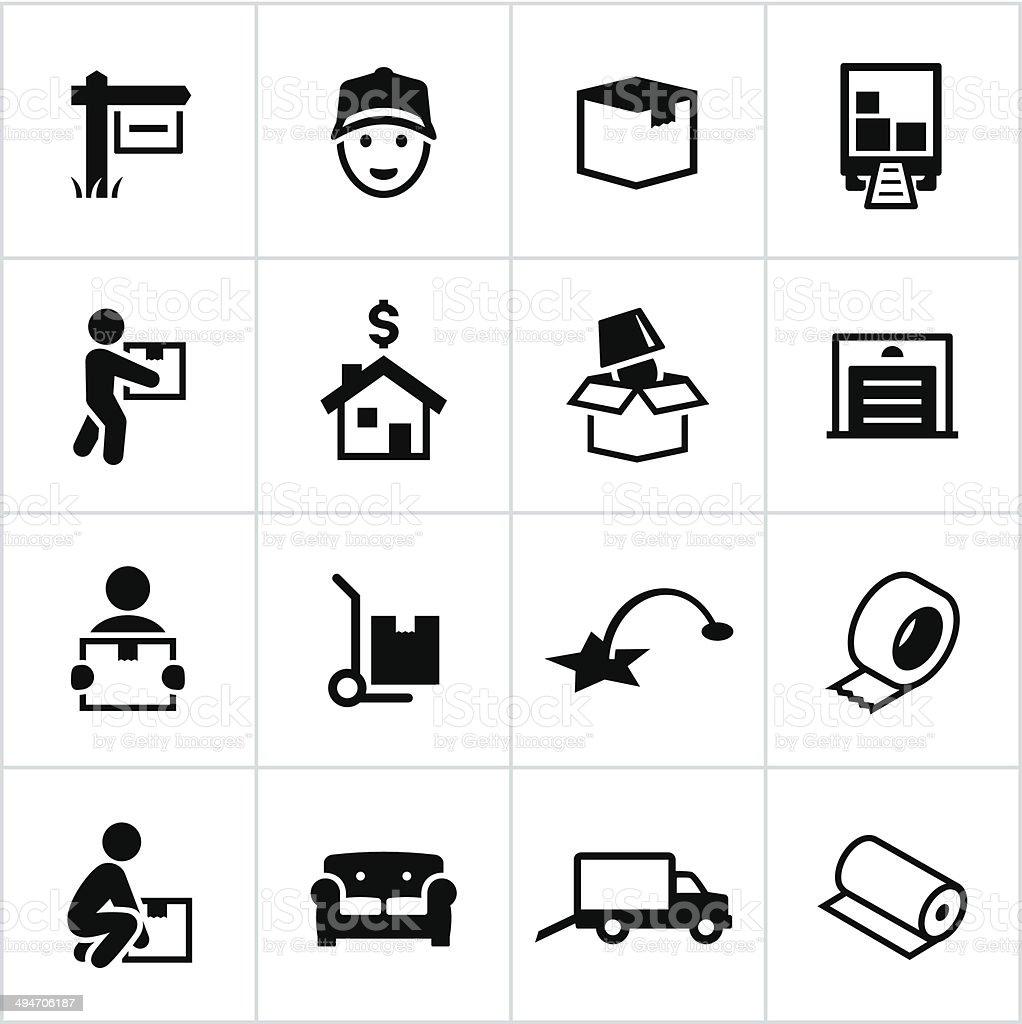 Black Moving Icons vector art illustration