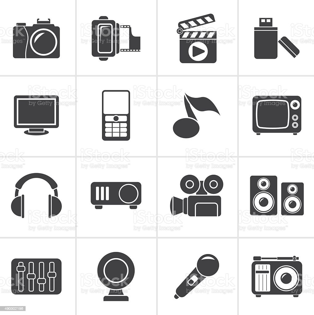 Black multimedia and technology icons vector art illustration