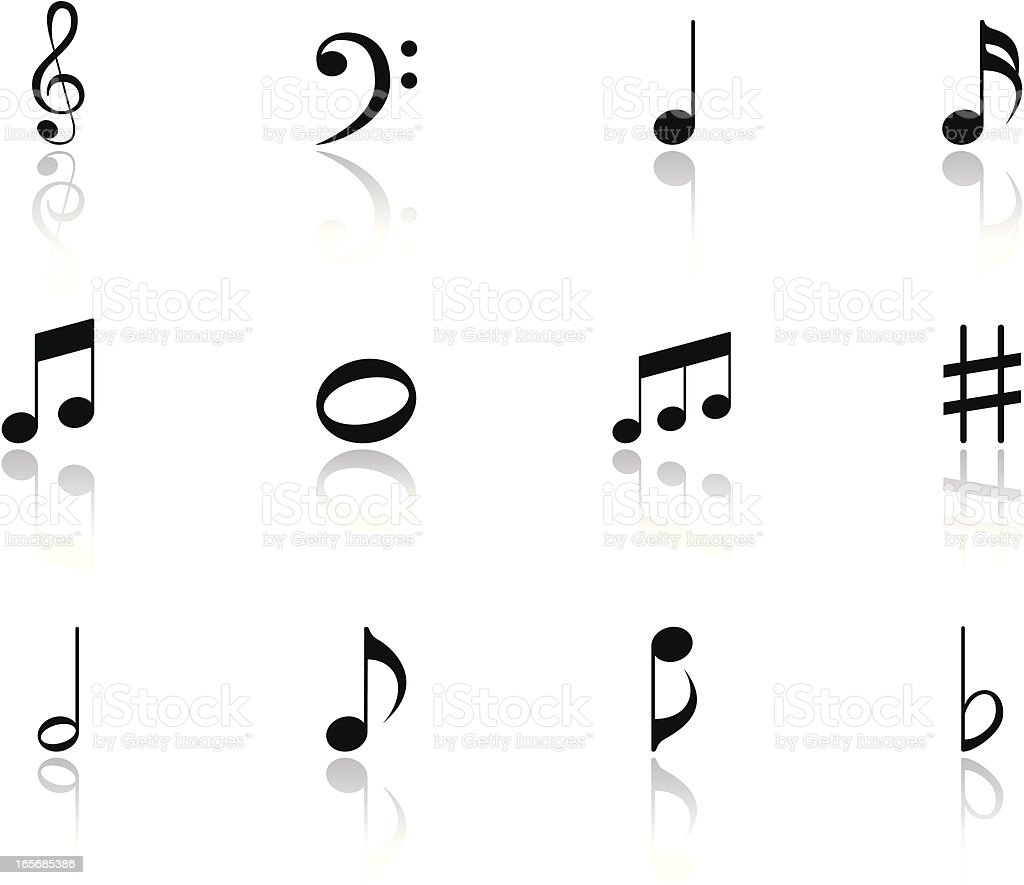 Black Music Notes Icon Symbols with reflection vector art illustration