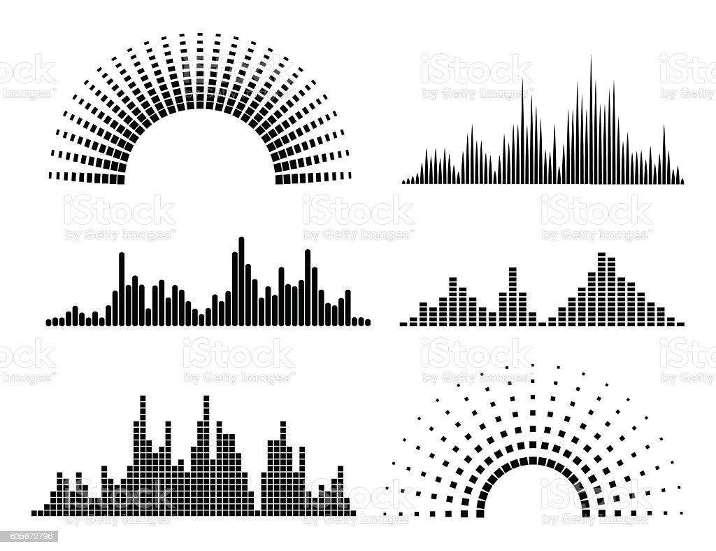 Black musicwaves forms vector art illustration