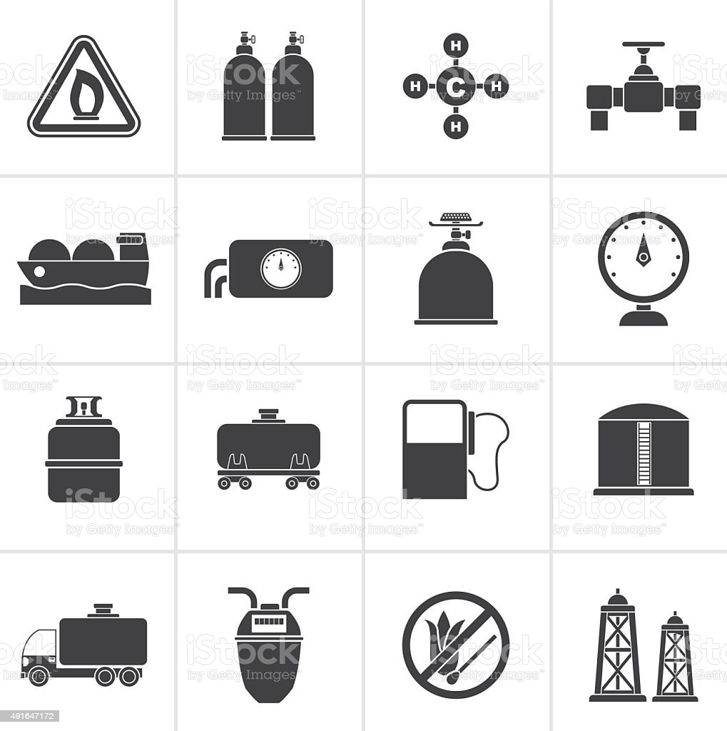 Black Natural gas objects and icons vector art illustration