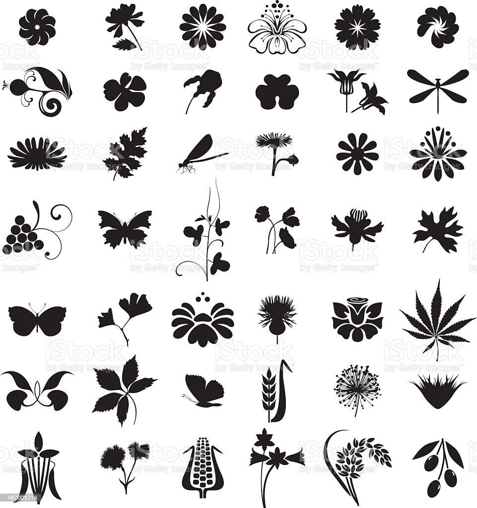 Black natural set vector art illustration