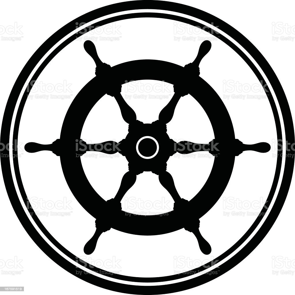 Black nautical flat icon over a white background vector art illustration