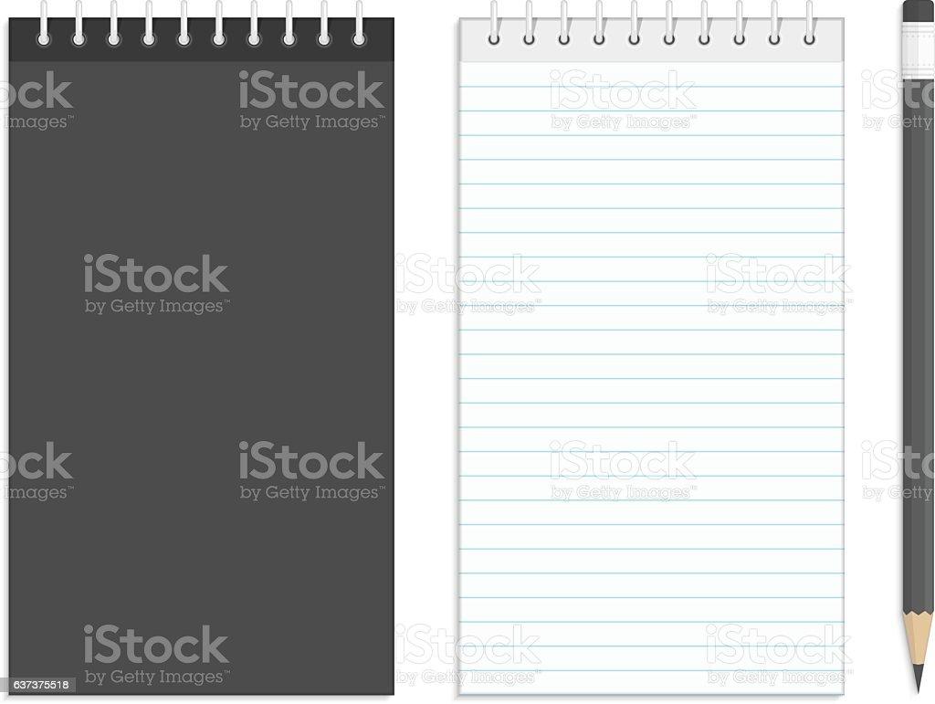 Black notebook mockup. vector art illustration