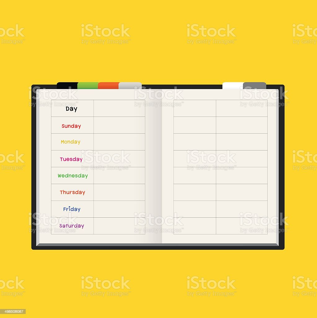 black notebook weekly planner vector art illustration