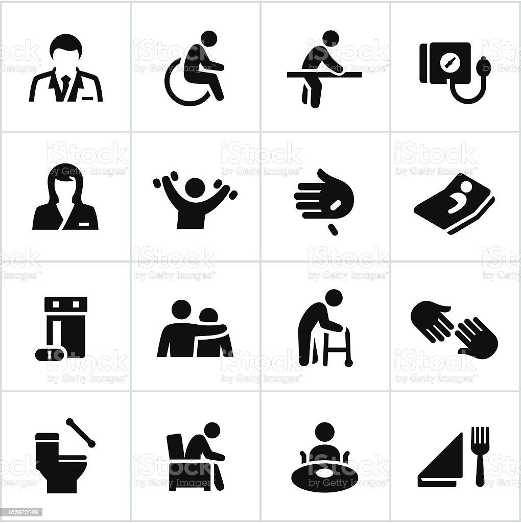 Black Nursing Home Icons vector art illustration