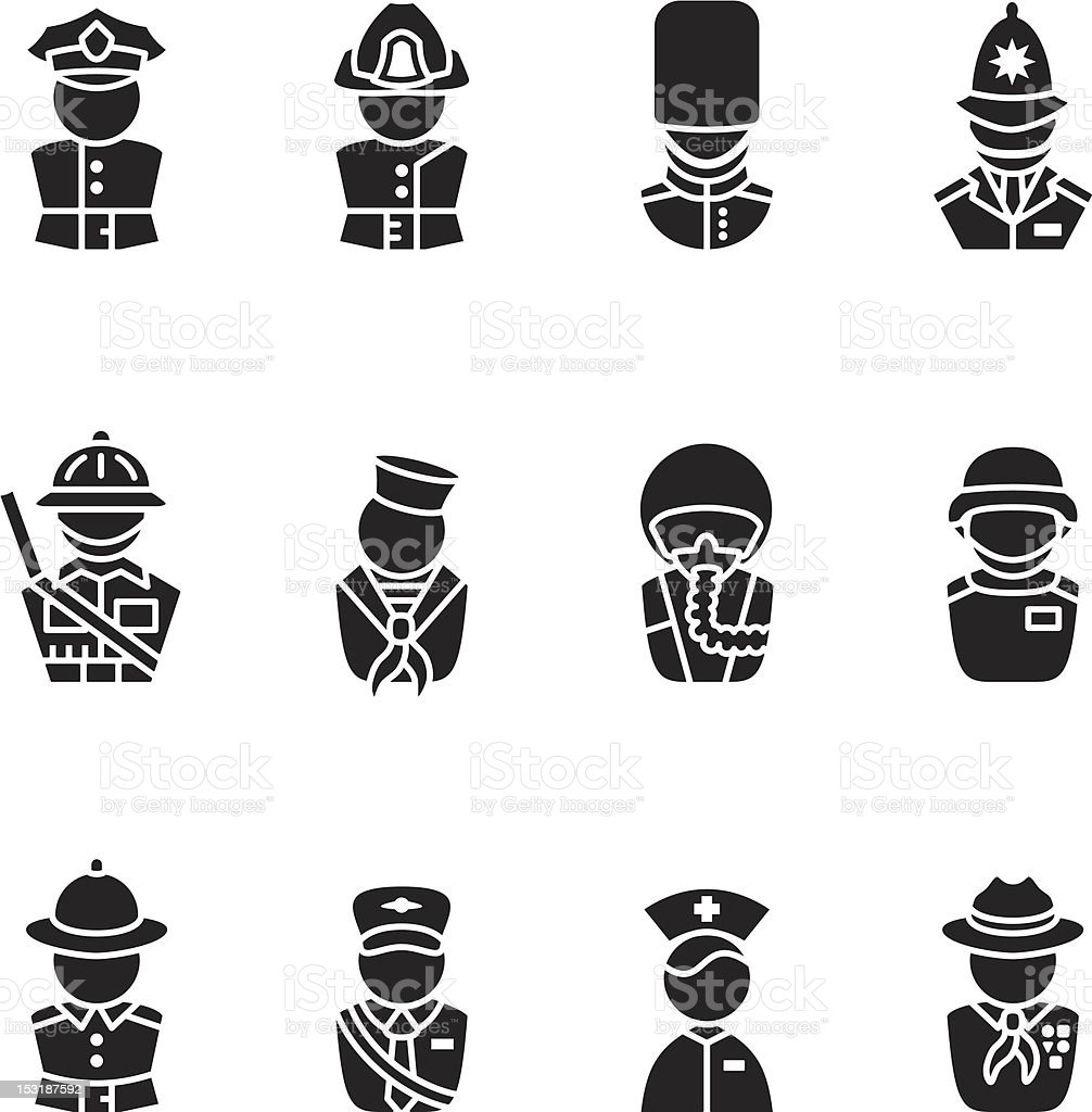 Black occupation uniform icons royalty-free stock vector art