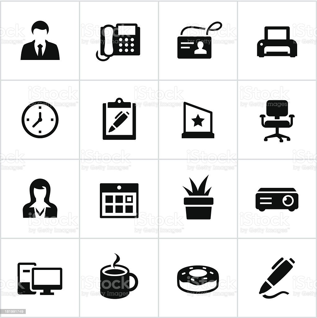 Black Office Icons royalty-free stock vector art