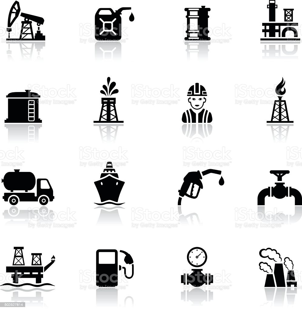 Black Oil and Petrol Industry Icon Set vector art illustration