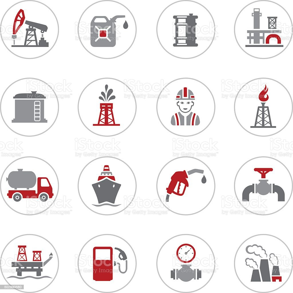 Black Oil and Petrol Industry Icons vector art illustration
