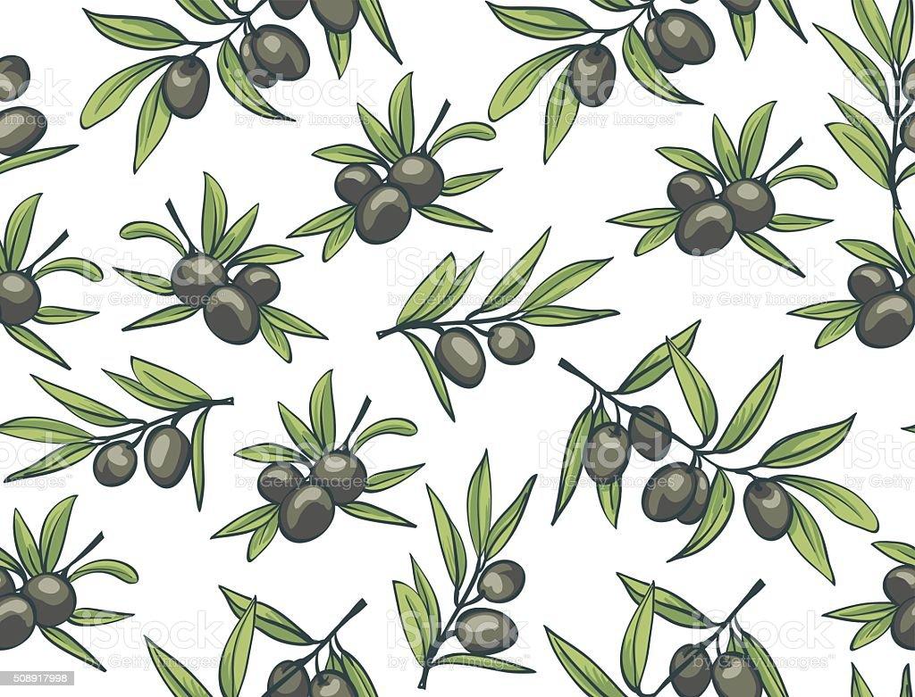 Black olives. vector seamless pattern. vector art illustration