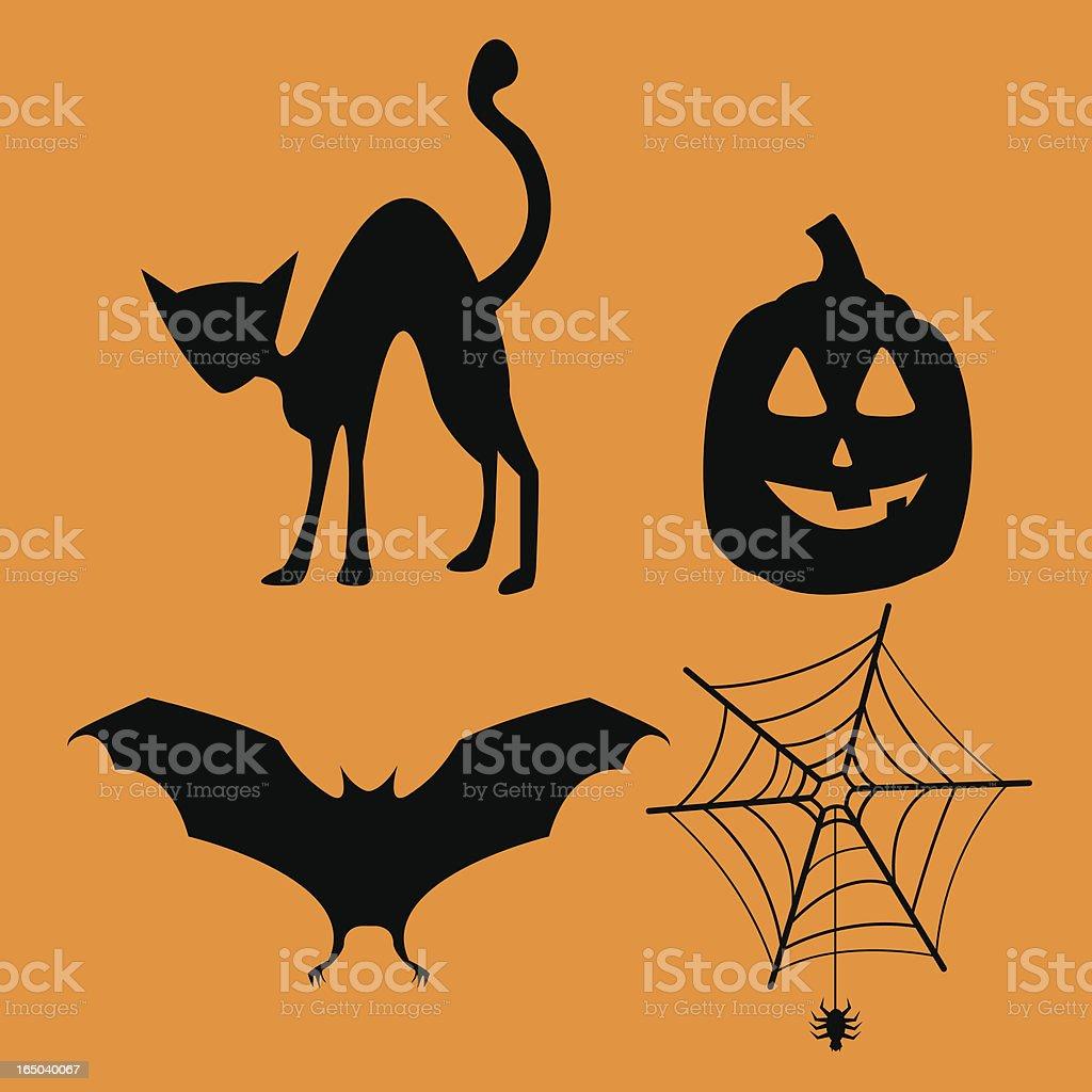 Black on orange Halloween decoration icons set vector art illustration