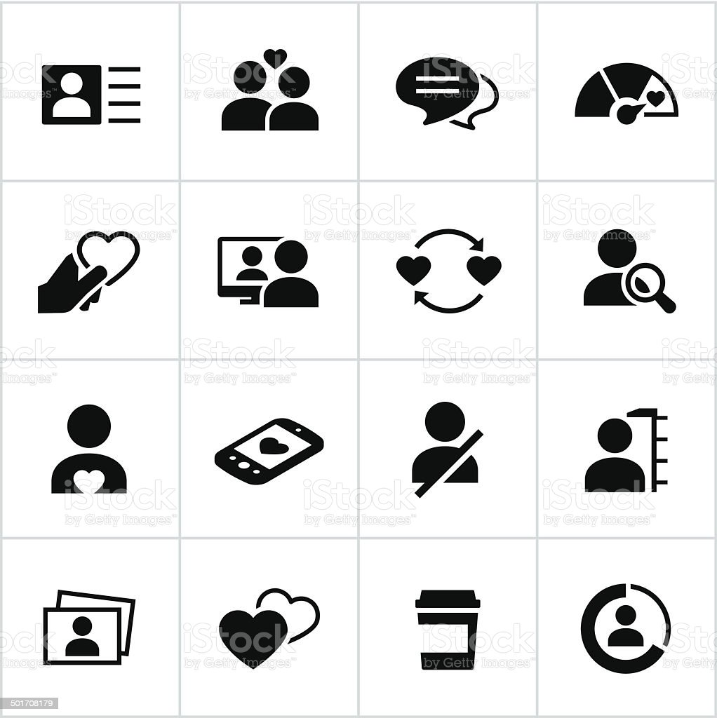 Black Online Dating Icons vector art illustration