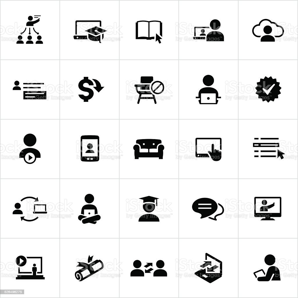 Black Online Education and E-Learning Icons vector art illustration