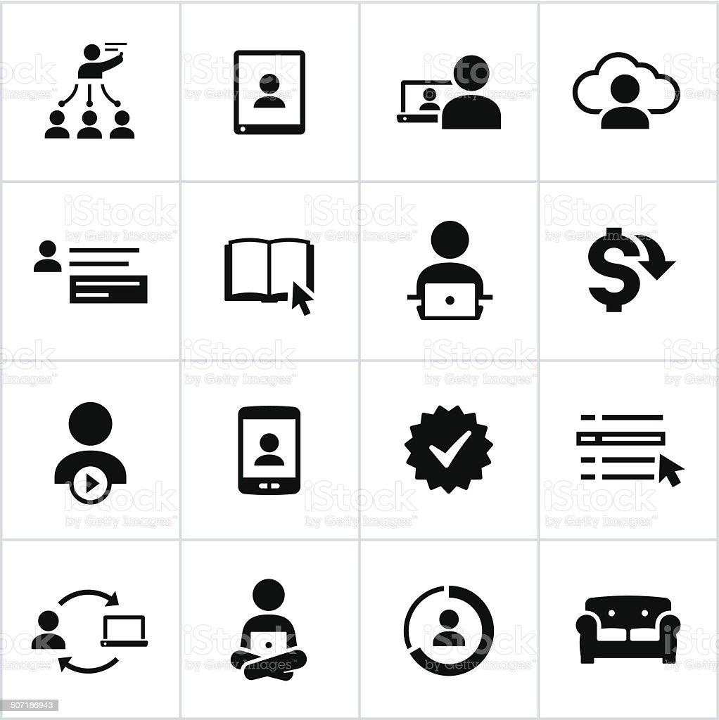 Black Online Education Icons vector art illustration