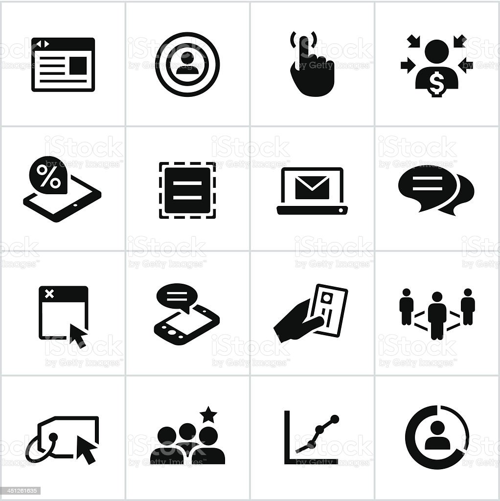 Black Online Marketing Icons vector art illustration