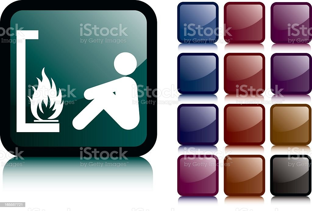 Black Open Fire Man Icon vector art illustration