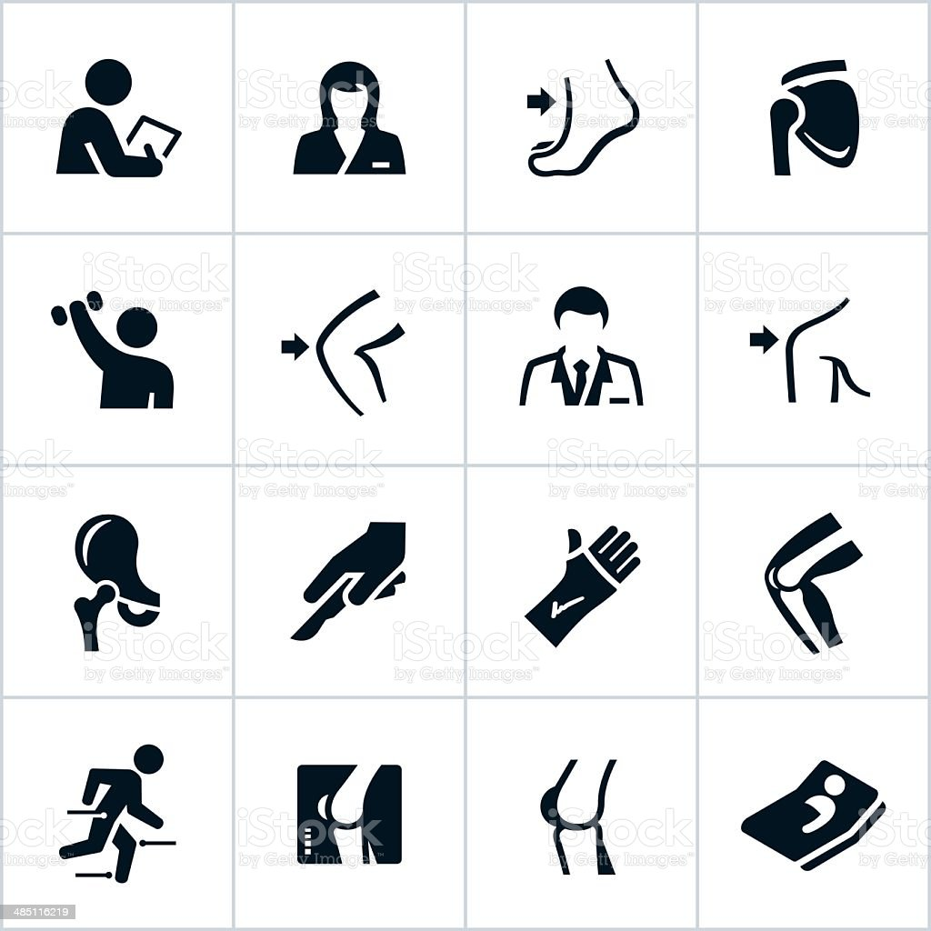 Black Orthopedic Icons vector art illustration