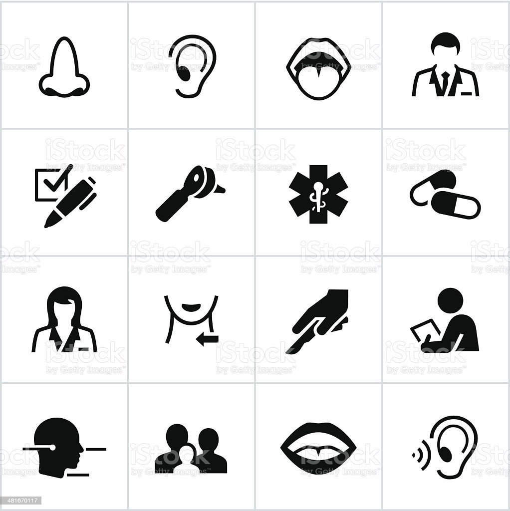Black Otolaryngology Icons vector art illustration