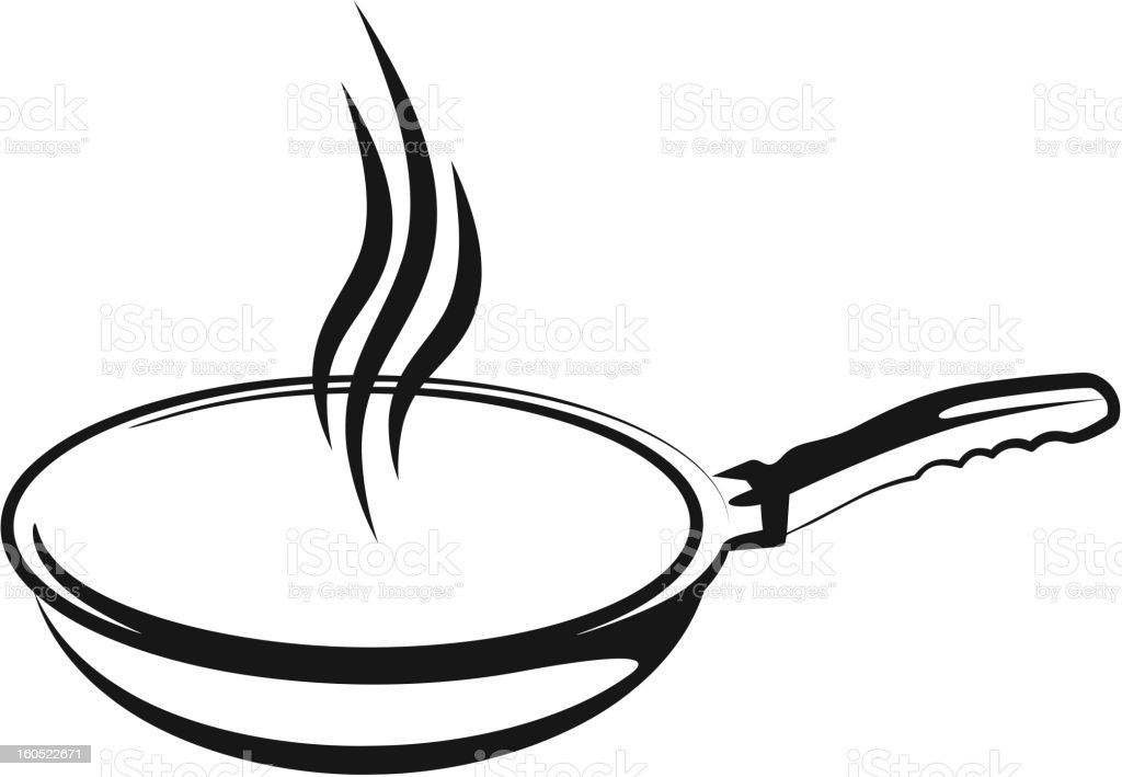 A black outline drawing of a pan vector art illustration