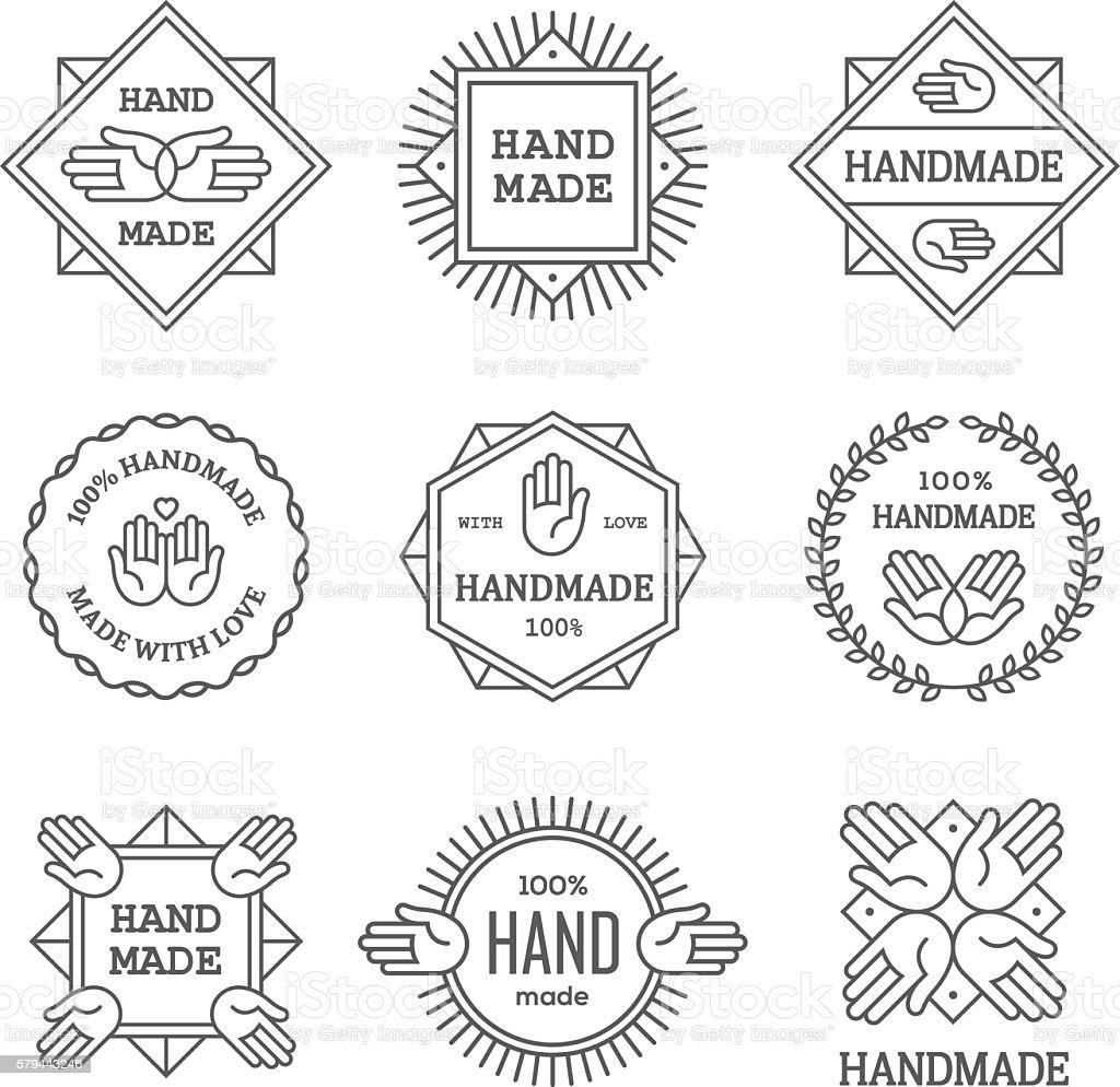 Black outline handmade labels set vector art illustration