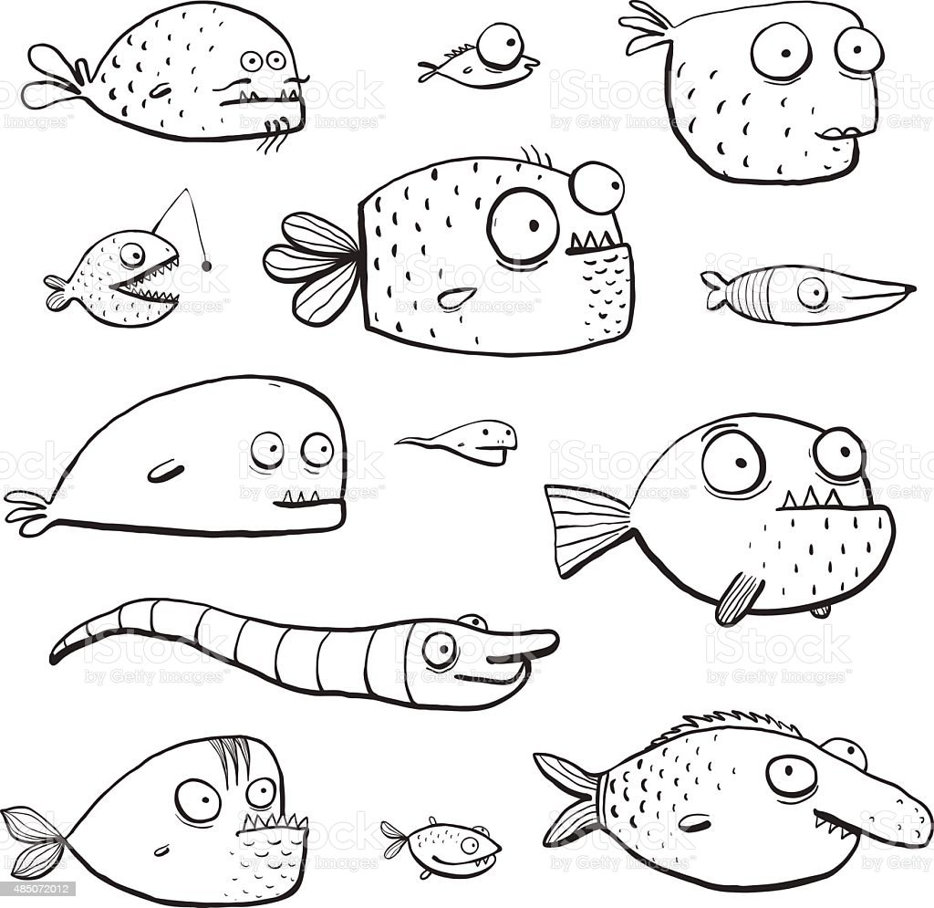Black Outline Humor Cartoon Swimming Fish Characters Collection Coloring Book vector art illustration